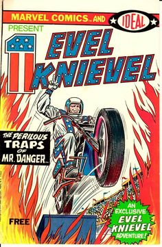 This sale is for a MARVEL / IDEAL Toys Evel Knievel comic cover stand-up display. This item measures in at approx 7 inches wide x 10 inches tall. An awesome looking display that'll make your Marvel / Comic collection stand up and out f.