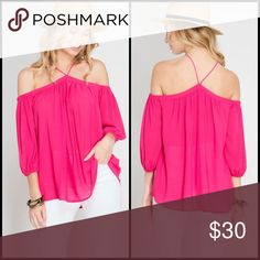 Fiona Off Shoulder Top Dare to bare in this off the shoulder top in a vibrant fuschia color. The Chiffon material is  lightweight. Unlined. Elasticized 3/4 sleeves. Tops