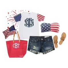 #USA #AMERICA Marleylilly.com Monogrammed American Flag Short Sleeve T-Shirt by marleylilly on Polyvore featuring rag & bone/JEAN, Charlotte Russe and Tory Burch