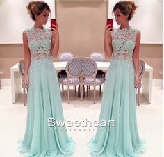 Light Green A-line Chiffon Long Prom Dresses, Formal Dresses #prom #promdress #dress