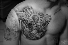 Have arab pattern around shoulder/arm/chest and then have the St Michael angel holding libra scales, laurels instead of a sword, and smashing down on a demon.