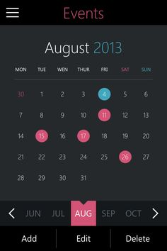 Another interesting calendar UI.  This one is pretty close to native iOS 7, but dark.