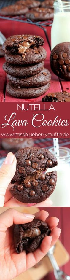 Recipe for the best filled nutellla lava cookies // best nuetalla lava co .- Rezept für die besten gefüllten nutellla Lava Cookies // best nuetalla lava co… Recipe for the best filled nutellla lava cookies … - Cookies Cupcake, Lava Cookies, Nutella Cookies, Chocolate Chip Cookie Dough, Fun Cookies, Nutella Snacks, Nutella Brownies, Chocolate Lava, Brownie Cookies