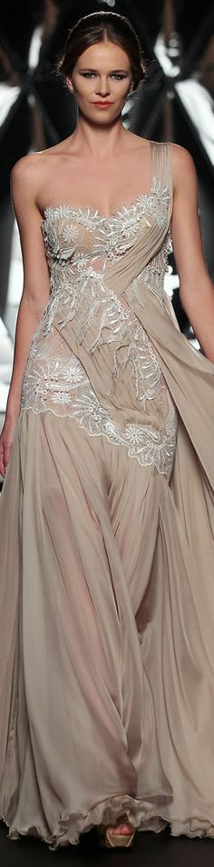 The Mireille Dagher Fall-Winter 2013-14 Haute Couture Collection #oneshoulder #dress http://www.pinterest.com/mrblackisback/