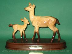 Beswick Doe and Fawn on ceramic plinth