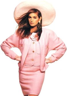 Cindy Crawford wearing pink Chanel, photo Patrick Demarchelier, 1980s