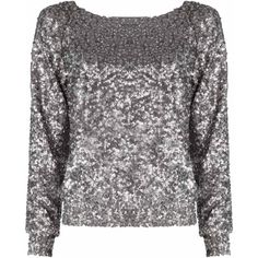 Alice + Olivia Evelina Sequin Long Sleeve Top ($238) ❤ liked on Polyvore featuring tops, blouses, shirts, sweaters, blusas, long sleeve sequin top, boat neck tops, shirts & tops, long sleeve raglan shirt and long sleeve tops