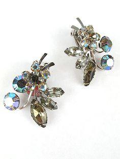 50's Vintage AB Rhinestone Crystal Flower Earrings