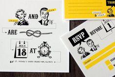 Printable 50s Wedding invitation set with yellow retro by sthblue