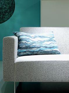 """Cushion """"stream"""" blue Felt Cushion, Felt Pillow, Cushions On Sofa, Pillows, Felt House, House Decorations, Nuno Felting, Felt Diy, Wool Blanket"""