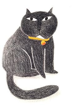 Black cat with white chin_ Illustration with crayons_Wensi Zhai