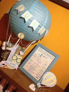 air ballon,first birthday. mongolfiera primo compleanno. Quadretto stile lavagnetta.