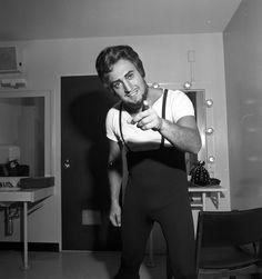 """Piero Cappuccilli in his dressing room - """"Il trovatore"""", 1957 http://www.archiviolascala.org/"""