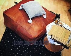 Bohemia Marrakech pouf leather Original by BohemiaMarrakechCom Square Pouf, Square Ottoman, Leather Pouf Ottoman, Handmade Ottomans, Moroccan Pouf, Stitching Leather, Off Colour, Marrakech, Real Leather