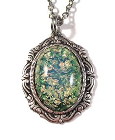 Vintage 1950s Japanese Green Opal Glass in Ornate Silver flowing filigree pendant on necklace by JujusCrafts