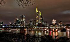 Frankfurt skyline aeria.