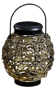 Tangle Solar Lantern from Kenroy Home. only $32.49. This One Light Decorative Lantern is part of the Tangle Collection and has a Black Finish and Mixed Rattan Finish Glass. It is LED.