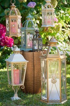 Whether you line the aisle with them, hang them above the dance floor or use them to create dazzling centerpieces, an eclectic mix of Pier 1 lanterns can add a romantic glow to your wedding or reception. Outdoor Candle Lanterns, Lanterns Decor, Lantern Crafts, Wooden Lanterns, Bird Cages, Unique Lighting, Home Living, Altar, Home Projects