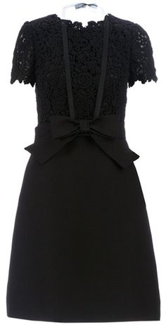 Valentino Floral Lace Aline Dress in Black (floral) - Lyst
