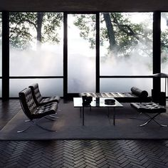 Philip Johnson Glass House engulfed in fog. Installation by Fujiko Nakaya: Veil --- loovvee the floor