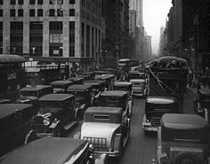 Traffic on Fifth Avenue near 42nd Street, 1930. Photo from the New York State Archives.