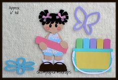 Sidewalk Chalk Girl Kid Scrapbook Paper Piecing