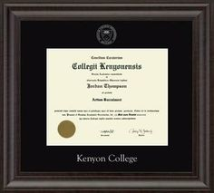 Kenyon College Diploma Frame Features The School Name And Official Seal Silver Embossed On Black