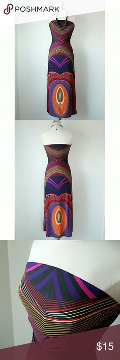 Geometric maxi dress - NWOT -  NWOT- took off tag before wearing but was too small - XXI - Black ground, warm colors - Size M, Runs small, 28in Waist, 49in L, 40 in hip - Overall Geometric print, insanely Slimming! Chest fully lined XXI Dresses Maxi