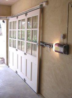Sliding-Garage-Doors-192 Garage, ideas, man cave, workshop, organization, organize, home, house, indoor, storage, woodwork, design, tool, mechanic, auto, shelving, car.