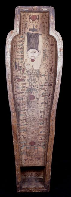 Coffin of Hornedjitef. Ptolemaic Period. British Museum. [firmament in coffin lid supporting the sun and with three suns, in the throat, groin and feet with hailers of the dawn. The down turned winged creature with the sun is another symbol of the Firmament]