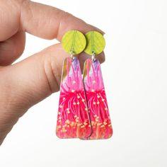 Gum flower long Australian Earrings    #australiangifts #australiana #handmadeaustralia #statementearrings #greenearrings #flowerearrings Green Earrings, Flower Earrings, Statement Earrings, Stud Earrings, Australian Gifts, Modern Jewelry, All Design, Bag Accessories, Melbourne