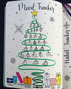 60 Monthly Mood Tracker Bullet Journal Ideas {Track your emotions each day!} 60 Monthly Mood Tracker Bullet Journal Ideas {Track your emotions each day! Bullet Journal Tracker, Bullet Journal Ideas Pages, Bullet Journal Spread, Bullet Journal Layout, Bullet Journal Legend, Bullet Journal Decoration, Bullet Journal Christmas, December Bullet Journal, Christmas Decorations Drawings