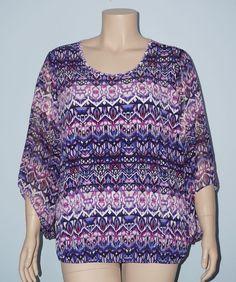 Roz & Ali 3x Dressbarn Purple Blue Chevron Chiffon Sleeve Elastic Hem Blouse Top #RozAli #Blouse #Casual