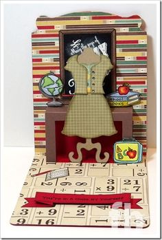 Frances Byrne's fabulous teacher pop-up card using Stampin' Up! Pop 'n Cuts dies. C4C198-School2-wm