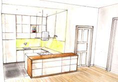 Entwurf für kleine Küchennische im Altbremer Haus