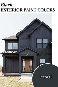 The best black paint colors to use on your home's exterior. Best House Colors Exterior, Exterior Paint Color Combinations, Best Exterior Paint, Exterior Color Schemes, House Paint Exterior, Exterior Paint Colors, Black Accent Walls, Dark Paint Colors, Cottage Renovation