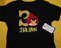 Red Angry Bird Birthday Number Applique Shirt
