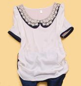 White Solid Round Neck Short Puff Sleeve Draped Chiffon Shirt $30.08
