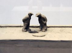 fischli & weiss' 'suddenly this overview' is a composition of more than 200 unfired clay sculptures that focus on the banal, and valorizing the childish.