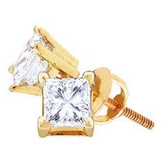 14k Yellow Gold 0.15Ctw Fine Princess Diamond Studs: Earrings