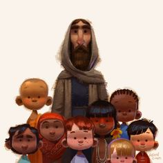 Jesus and the little children, art by Gabriel Soares