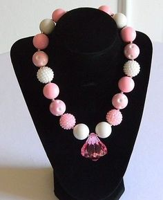 Girls Pink & White Boutique Necklace Costume Chunky Bubble Bead Jewelry Pageant