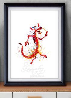 Disney Mushu Watercolor Painting Art Poster Print Wall Decor https://www.etsy.com/shop/genefyprints