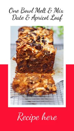 One Bowl Melt and Mix Date and Apricot Loaf - Cooking for Busy Mums Use sweetened pumpkin purée for brown sugar Loaf Recipes, Baking Recipes, Cake Recipes, Dessert Recipes, Apricot Recipes, Sweet Recipes, Yummy Recipes, Diabetic Recipes, Healthy Cake