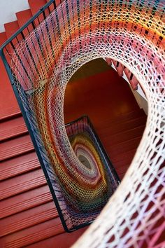 Dovecot Studios Stairwell, design created with wool yarn. Edinburgh, Scotland    Very Fibonacci like!