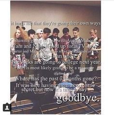 I will never say goodbye to MAGCON..! They will always be special, okay?! I lovw the MAGCON boys soooo much haha:) They will always be friends and thats the important thing in this situation:) love ya guys..!<3