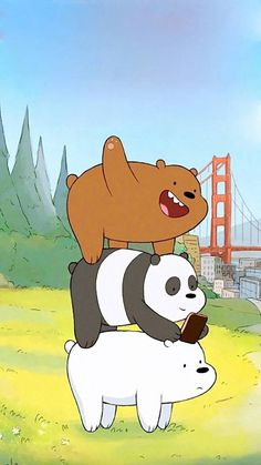 Image about panda in We bare bears 🐻🐼✨ by G o l d_R a i n* ヽ(・∀・)ノ Cute Disney Wallpaper, Kawaii Wallpaper, Cute Cartoon Wallpapers, Bear Wallpaper, Wallpaper Backgrounds, Iphone Wallpaper, Ice Bear We Bare Bears, We Bear, We Bare Bears Wallpapers