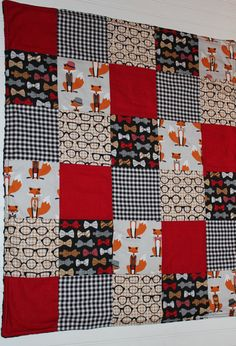 Minky Baby Boy Patchwork Quilt  Fox and by InfantlyCuteBoutique, $59.00