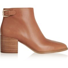 MICHAEL Michael Kors Saylor leather ankle boots ($160) ❤ liked on Polyvore featuring shoes, boots, ankle booties, tan, ankle boots, mid heel booties, stacked heel booties, tan ankle boots and tan ankle booties