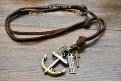 NEW Personalized fashion Bronze Anchors charm by TheGiftWorld, $6.99 Personalized fashion handmade leather necklace, best friendship gift.